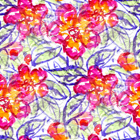 Seamless pattern with red flowers in doodle style. Watercolor illustration. Stock Photo