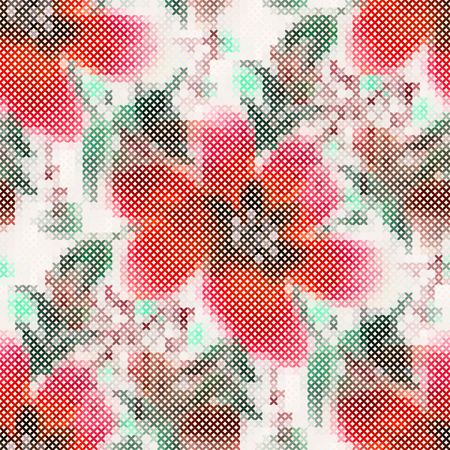 cross stitch: Modelo incons�til - bordado floral decorativo. Punto de cruz. Ilustraci�n vectorial