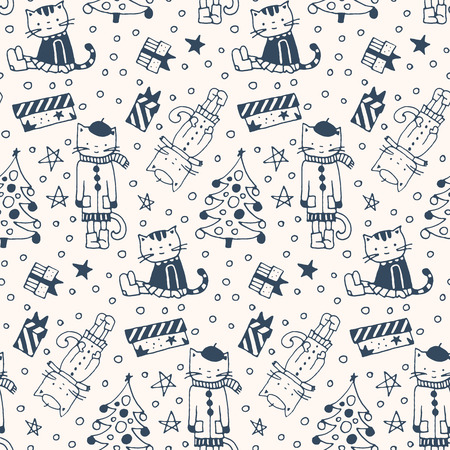 Seamless pattern with cats, gifts and Christmas fir-trees in doodle style.  Black and white drawing.  Vector illustration.