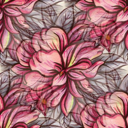 patrones de flores: Patrón sin fisuras con flores rojas. Dibujo de tinta y acuarela.