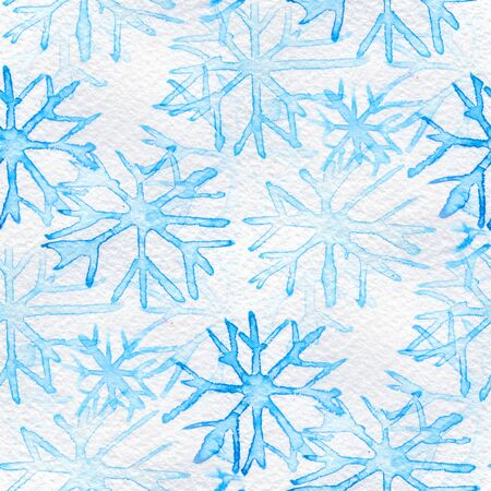 watercolor paper: Seamless pattern with blue snowflakes on a white background. Watercolor illustration.