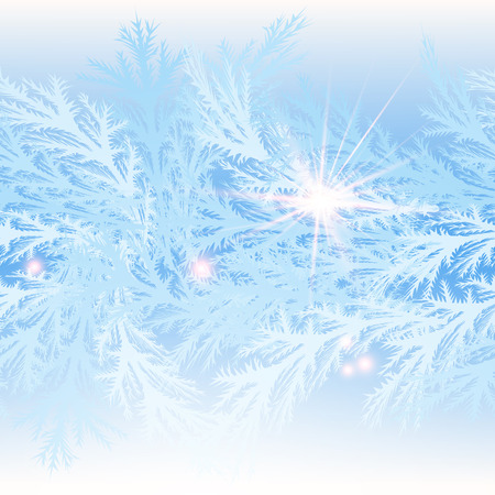 blue and white: Light-blue winter background with a seamless frosty pattern. The illustration contains transparency and effects. EPS10