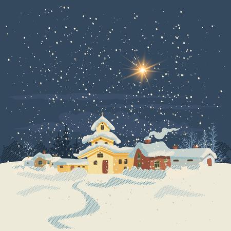 Kerstkaart in retro stijl. Winterlandschap met een klein dorpje in de nacht. Vector illustratie.