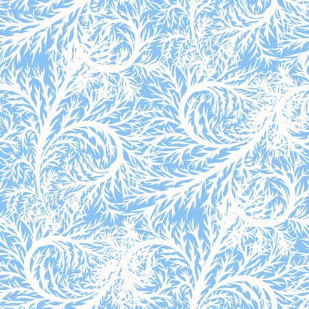 Seamless winter background with stylized frost patterns. Christmas seamless pattern. Vector illustration.