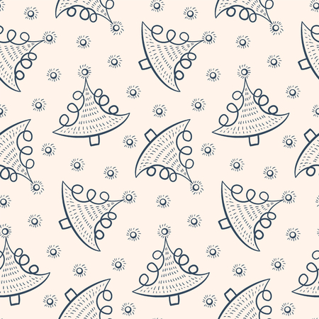 Seamless Christmas pattern in doodle style. Black and white background with Christmas fir-trees. Vector illustration.  イラスト・ベクター素材