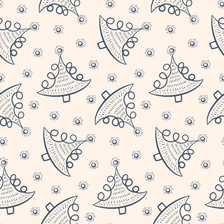 Naadloos patroon Kerstmis in doodle stijl. Zwarte en witte achtergrond met kerst dennen. Vector illustratie.