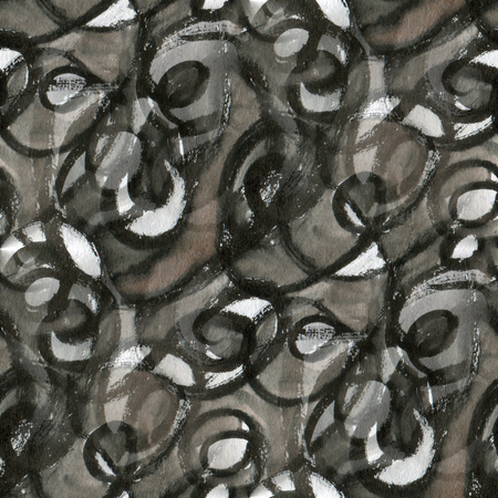 black grunge background: Black grunge seamless pattern with scribbles. Drawing ink and watercolor. Stock Photo