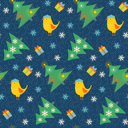 firtrees: Seamless Christmas pattern with fir-trees, birds and gifts. Vector illustration.