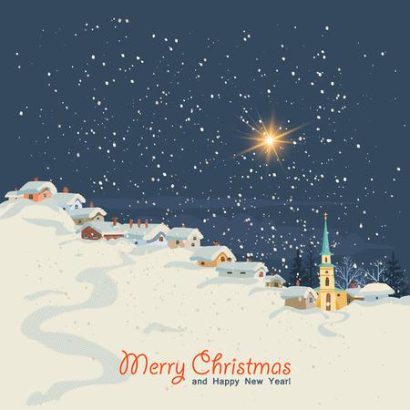 Weihnachtskarte im Retro-Stil. Winterlandschaft mit einem kleinen Dorf in der Nacht. Vektor-Illustration. Vektorgrafik