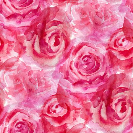motif floral: Seamless avec des roses rouges. Illustration d'aquarelle.