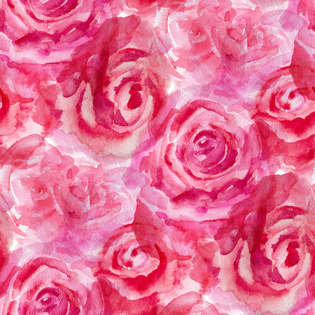 red rose background: Seamless pattern with red roses. Watercolor illustration.