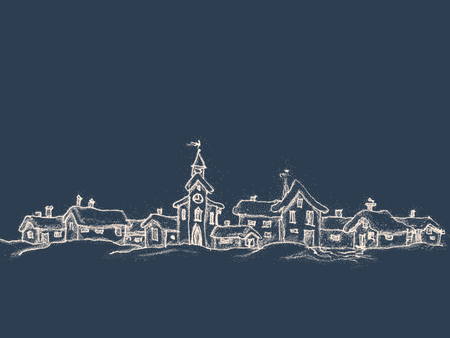 Christmas card in retro style with place for text. Winter landscape with a small village. Drawing a white chalk on a black background. Vector illustration. Vettoriali