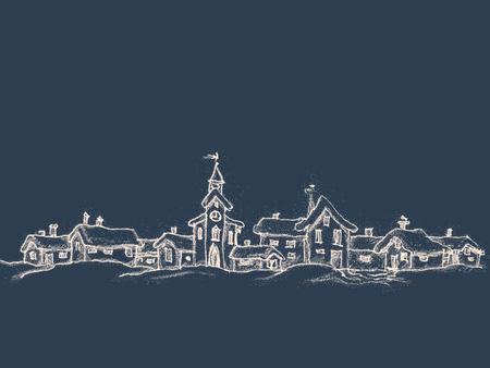 Kerstkaart in retro stijl met plaats voor tekst. Winterlandschap met een klein dorp. Het tekenen van een wit krijt op een zwarte achtergrond. Vector illustratie.
