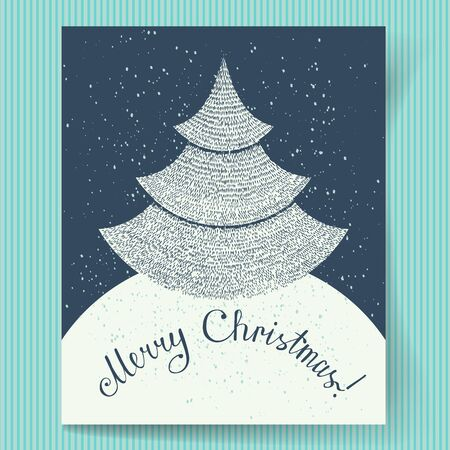 december background: Christmas Greeting Card. Black and white drawing of a Christmas fir-tree and hand-drawn lettering. Vector illustration Illustration