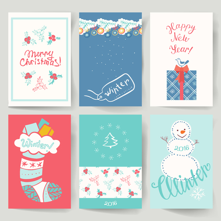 winter holidays: Set of greeting cards for winter holidays in a retro style. Vector illustration. Illustration