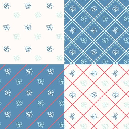 snowflake background: Vector set of simple seamless winter backgrounds with snowflakes.