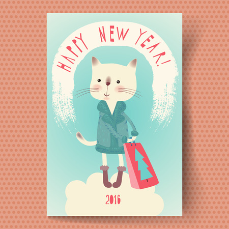 new year cat: Greeting Card Happy New Year 2016 with a cartoon cat.  Retro style. Hand lettering. Vector illustration.