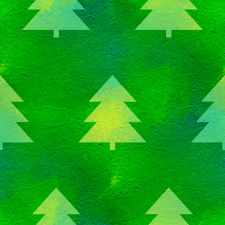 acryle: Abstract seamless pattern with acrylic painting. Green  background with stylized Christmas trees. Stock Photo
