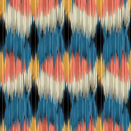 Seamless Ikat Pattern. Abstract  background for textile design, wallpaper, surface textures, pattern fills, web page background, wrapping paper.  イラスト・ベクター素材