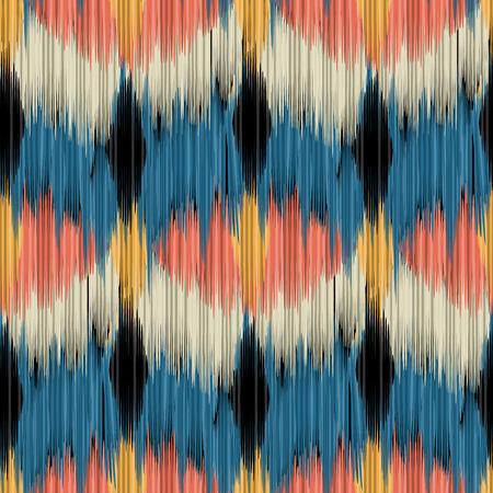 Naadloos Ikat-patroon. Abstracte achtergrond voor textielontwerp, behang, oppervlakte texturen, opvulpatronen, webpagina-achtergrond, inpakpapier.