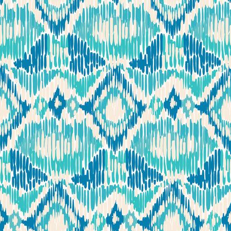 Blue and white seamless Ikat Pattern.