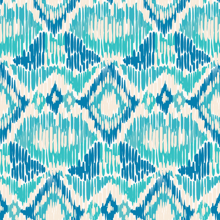 Blue and white seamless Ikat Pattern.