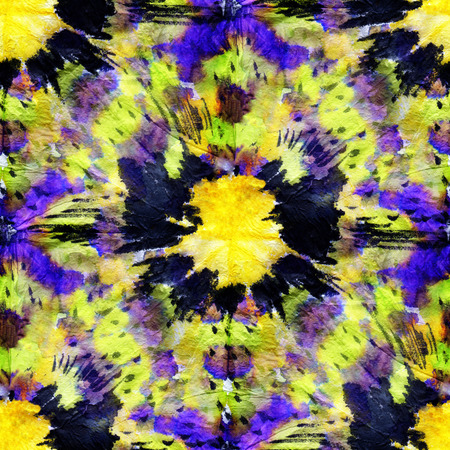 tie: Beautiful seamless tie-dye pattern with purple,  black  and yellow circles. Stock Photo