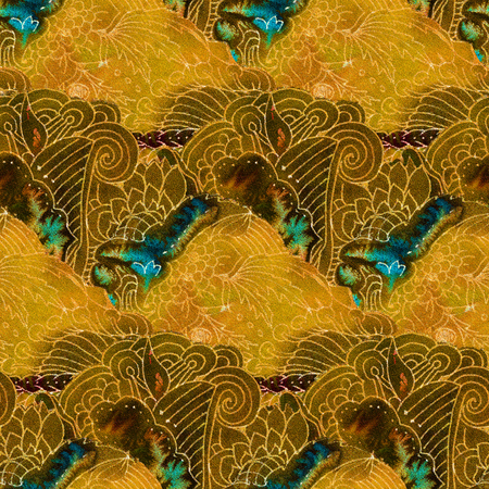 seamless tile: The intricate batik pattern with texture of fabric. Seamless pattern. Hand-drawn illustration. Stock Photo