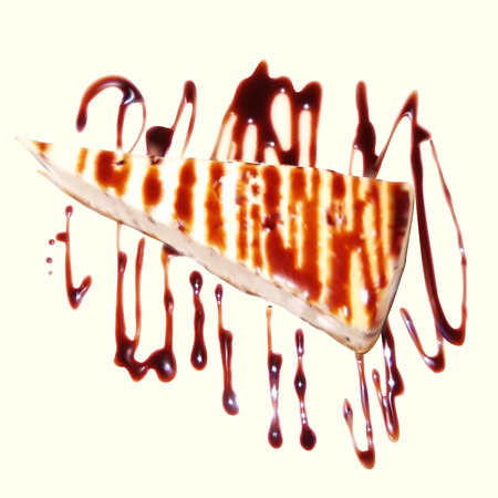 caramel sauce: Cheesecake with caramel sauce and chocolate.  Work is performed with gradient mesh, isolated on white background. Vector illustration.