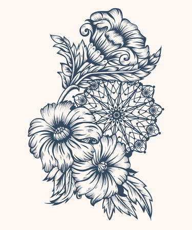 engraving print: Flowers and circular ornament. Ink in the style of antique engraving. Vintage style. Vector illustration. All elements are made separately and grouped.