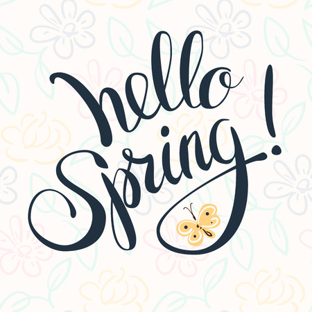 """primavera: Rotulación a mano """"Hola primavera!"""" Letras de la pluma del cepillo aislado en el fondo."""