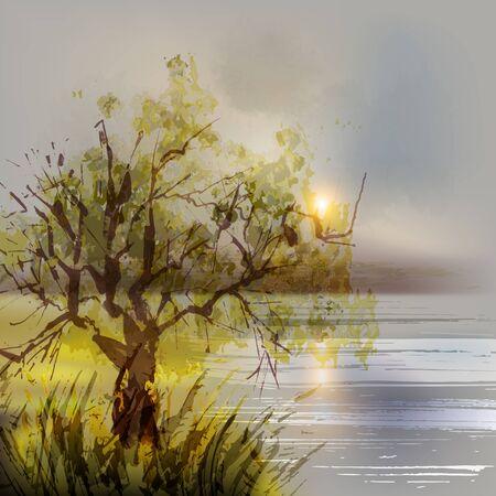 illustration: Summer landscape watercolor. Vector illustration.