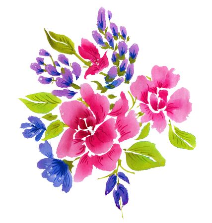 gently blue: Red and blue flowers isolated on a white background. Watercolor illustration.