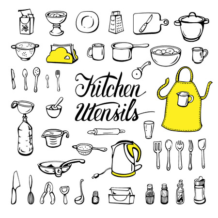 Kitchen utensils, isolated on a white background. Sketch ink. Vector illustration.
