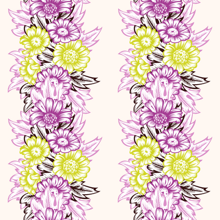 mauve: Vintage seamless floral pattern with stripes of flowers chartreuse and mauve color on a white background.  Hand-drawn illustration. Vector.
