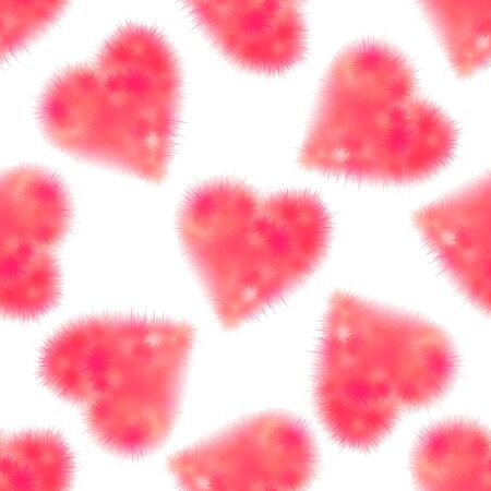 downy: Seamless pattern with fluffy pink hearts on a white background.