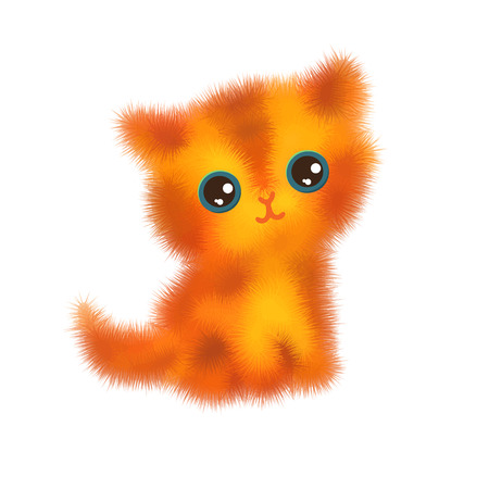 kitten cartoon: Illustration of funny cartoon kittens. Red fluffy cat isolated on white background. Vector illustration.
