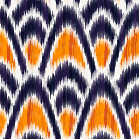 Seamless Ikat Pattern. Abstract background for textile design, wallpaper, surface textures, pattern fills,  wrapping paper.  イラスト・ベクター素材