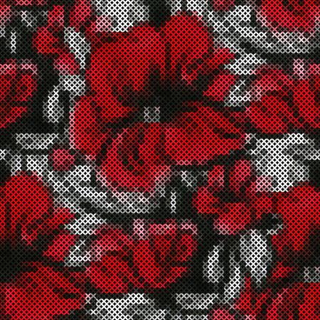 punto de cruz: Modelo incons�til - bordado floral decorativo. Punto de cruz. Ilustraci�n vectorial