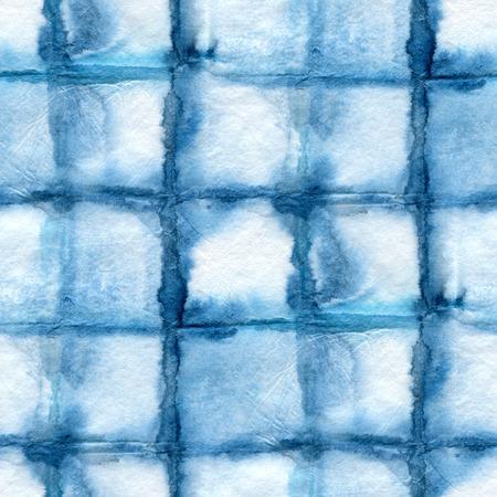 modelo del teñido anudado sin fisuras en la seda blanca. Batik a mano telas de pintura batik - nodular. teñido Shibori. El color índigo.