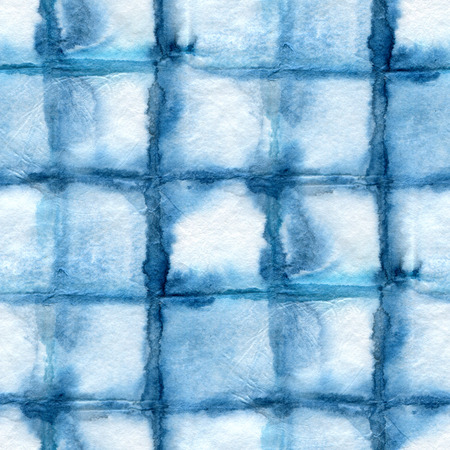 silk tie: Seamless tie-dye pattern on white silk. Batik-hand painting fabrics - nodular batik. Shibori dyeing.  The Indigo color.