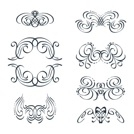 vignettes: Vector set - graceful vignettes in calligraphic style. Hand-drawn illustration. Vector.