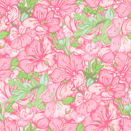 background tile: Seamless pattern with stylized Pink flowers of Apple. Vector illustration.