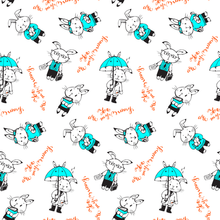happy baby: Seamless pattern with funny cartoon Bunnies. Hand-drawn illustration. Vector. Illustration