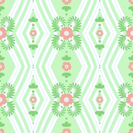 geometrically: Seamless pattern - simple flower background. Geometrically a background with rhombuses and flowers in a retro style. Vector illustration.