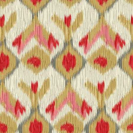 gobelin: Seamless Ikat Pattern. Abstract background for textile design, wallpaper, surface textures, pattern fills,  wrapping paper. Stock Photo