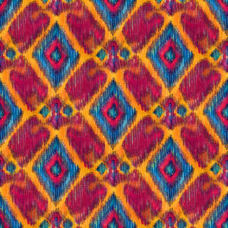 gobelin: Seamless Ikat Pattern. Hand-drawn illustration.  Abstract background for textile design, wallpaper, surface textures, pattern fills,  wrapping paper.