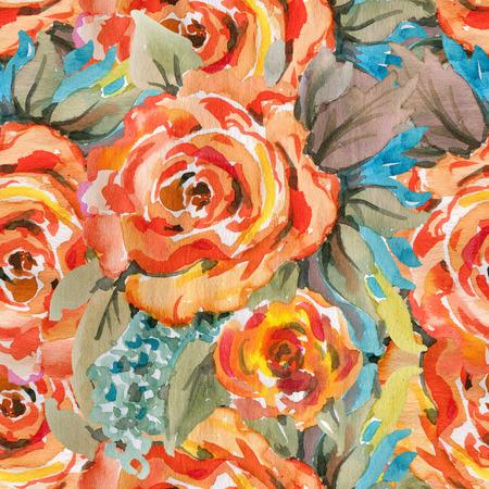 orange roses: Seamless pattern with orange roses. Hand-drawn illustration.  Watercolor.