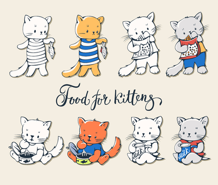 kitten cartoon: Illustration of funny cartoon kittens with food. Vector set.