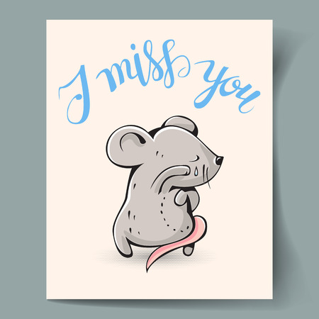 """Postcard with a gray mouse and hand lettering """"I miss you"""" Vector illustration"""